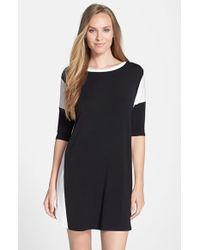DKNY - Black Three Quarter Sleeve Sleep Shirt - Lyst