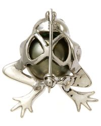 Kojis - Metallic White Gold Tahitian Pearl Frog Diamond Brooch - Lyst