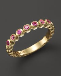 Lagos | Metallic 18K Gold And Pink Sapphire Stackable Ring | Lyst