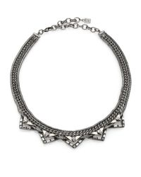 DANNIJO | Metallic Lizzie Crystal Chain Collar Necklace | Lyst