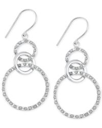Macy's - Metallic Diamond Accent Interlocking Circle Drop Earrings In Platinum Over Sterling Silver - Lyst