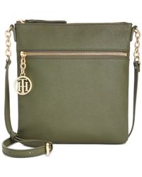 Tommy Hilfiger | Green Sharon Textured North South Crossbody | Lyst