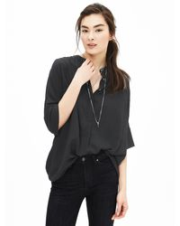 Banana Republic | Black Drapey Dolman-sleeve Blouse | Lyst