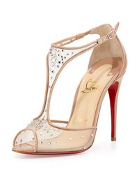 Christian Louboutin - Pink Patinana Strass Red Sole Sandal - Lyst