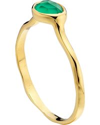 Monica Vinader | Siren 18Ct Gold-Plated Green Onyx Stacking Ring - For Women | Lyst