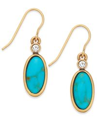 Lauren by Ralph Lauren - Metallic Gold-Tone Reconstituted Turquoise And Crystal Drop Earrings - Lyst