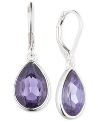 Nine West | Metallic Silver-tone Purple Crystal Teardrop Earrings | Lyst