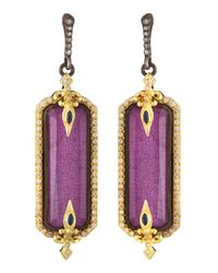 Armenta - Purple Lavenderite & White Quartz Doublet Drop Earrings - Lyst