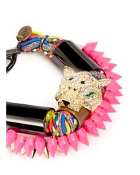 Venna | Multicolor Diamanté Jaguar Head Multi-thread Bracelet | Lyst