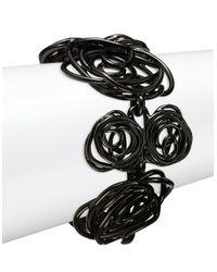 Oscar de la Renta | Black Wire Rose Link Bracelet | Lyst