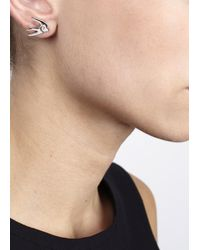 McQ | Metallic Silver Tone Swallow Earrings | Lyst