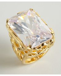 CC SKYE | Metallic Gold and Crystal Vintage Showstopper Ring | Lyst