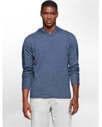 Calvin Klein | Blue Jeans Heathered Henley Sleek Hoodie | Lyst