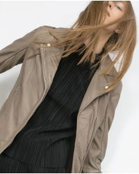 Zara | Brown Leather Jacket | Lyst