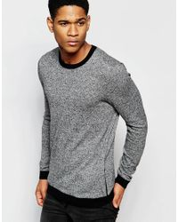 ASOS | Gray Cotton Jumper With Side Zip Pockets - Black & White Twist for Men | Lyst