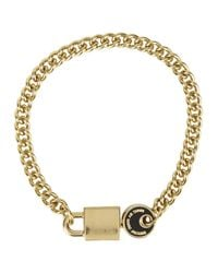 Marc By Marc Jacobs | Metallic Lock In Black Gold Tone Bracelet | Lyst
