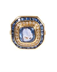 Jade Jagger | Blue Diamond Sapphire Yellowgold Ring | Lyst
