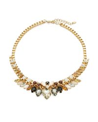 Cara - Black Multi-stone Goldtone Collar Necklace - Lyst