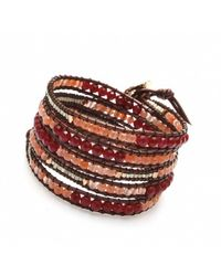 Nakamol | Multicolor Five Times Wrap Bracelet With Seed Beads-Red | Lyst
