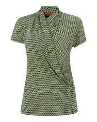 Max Mara | Green Crisma Drape Front Geo Print Top | Lyst