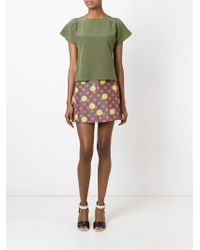 RED Valentino - Green Short Sleeve Blouse - Lyst