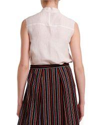 Nikki Chasin - White Mockneck Silk & Linen Top - Lyst