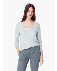 Mango | Gray V-neck Cashmere Sweater | Lyst