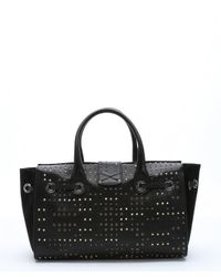 Jimmy Choo - Black Leather Studded 'rosa' Convertible Tote - Lyst