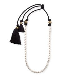 Lanvin - Metallic Long Pearly Necklace With Tassel Ends - Lyst