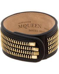 Alexander McQueen - Black Leather Zipper Trim Cuff for Men - Lyst