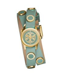 Tory Burch - Blue Reva Mini Double-wrap Leather Watch - Lyst