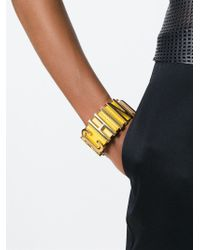 Moschino | Yellow Logo Plaque Bracelet | Lyst