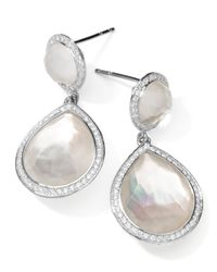 Ippolita | Metallic Stella 2-stone Drop Earrings In Mother-of-pearl Doublet With Diamonds | Lyst