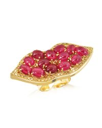 Bernard Delettrez - Metallic Big Mouth W/cabochon Rubies Gold Ring - Lyst