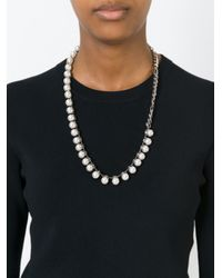 Lanvin   White Faux Pearl And Chain Necklace   Lyst