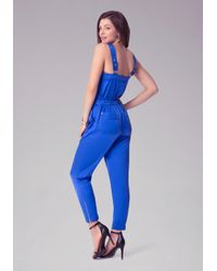 Bebe - Blue Silk Satin Cami Jumpsuit - Lyst