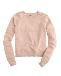 J.Crew - Pink Lightweight Cropped Sweatshirt - Lyst