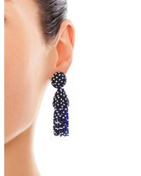 Oscar de la Renta - Blue Polka Dot Beaded Tassel Earrings - Lyst