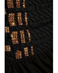 Balmain - Black Embellished Jersey Mini Dress - Lyst