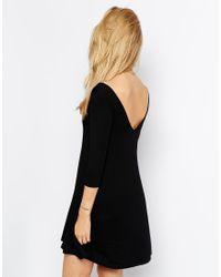 ASOS - Black Tall Skater Dress With V Front And V Back - Lyst