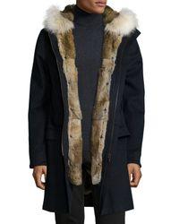 Yves Salomon - Blue Fur-trimmed Zip-front Parka for Men - Lyst