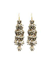 Chamak by Priya Kakkar - Black Diamond-shape Tiered Chandelier Earrings - Lyst