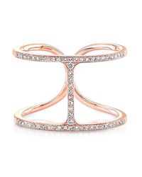 Anne Sisteron - Pink 14kt Rose Gold Diamond H Ring - Lyst