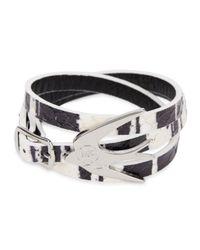 McQ | Black Swallow Leather Wrap Bracelet | Lyst
