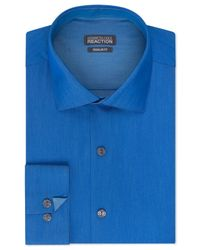Kenneth Cole Reaction | Blue Solid Dress Shirt for Men | Lyst