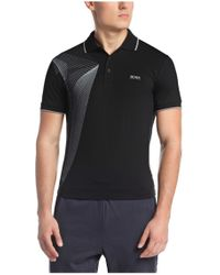 BOSS Green - Black 'pleecell' | Slim Fit, Stretch Cotton Blend Polo Shirt for Men - Lyst
