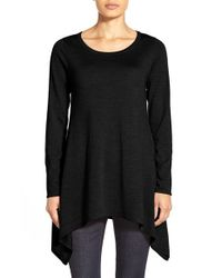 Eileen Fisher | Black Ballet Neck Merino Wool Tunic | Lyst
