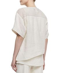 Lafayette 148 New York - White Xena Short-sleeve Textured Linen Panel Top - Lyst