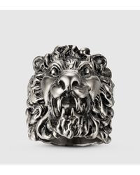Gucci | Metallic Lion Head Ring for Men | Lyst