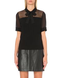 Sandro | Black Honeycomb-mesh Short-sleeved Top | Lyst